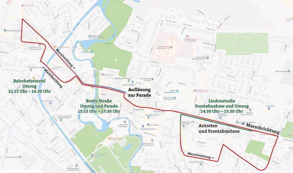 Der Marschweg beim Festzug Kirmessonntag 2018.