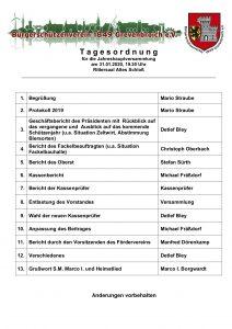 Tagesordnung der Jahreshauptversammlung 2020