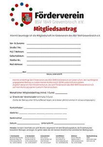 Der Mitgliedsantrag zum Förderverein.