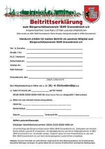Screenshot der Beitrittserklärung zum BSV Grevenbroich.