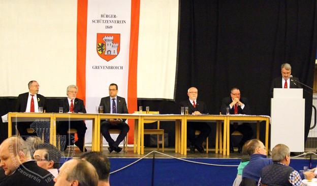 Der geschäftsführende Vorstand des BSV Grevenbroich bei der Jahreshauptversammlung 2016