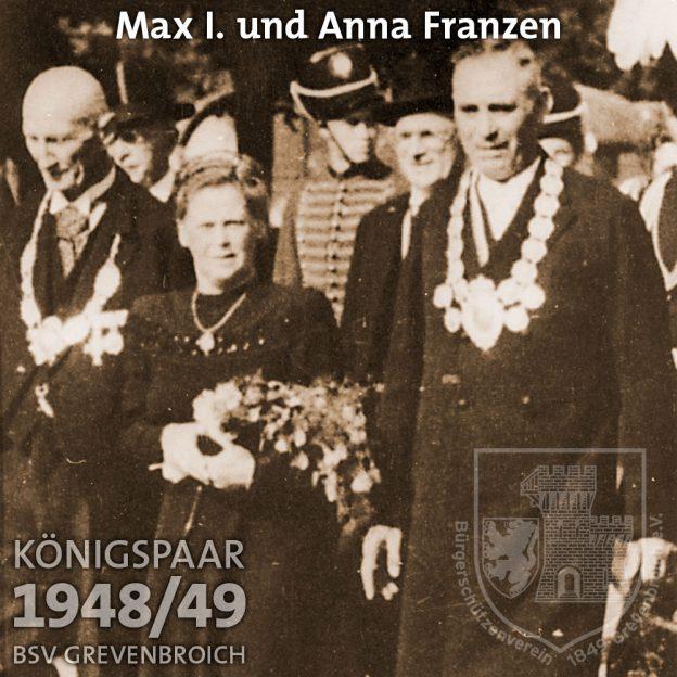 Schützenkönigspaar 1948/49: Max I. und Anna Franzen