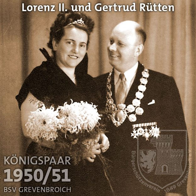 Schützenkönigspaar 1950/51: Lorenz II. und Gertrud Rütten