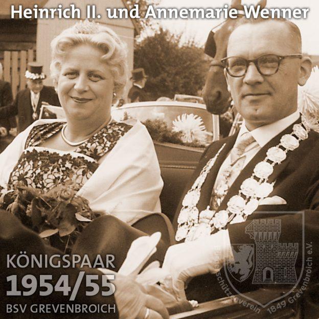 Schützenkönigspaar 1954/55: Heinrich II. und Annemarie Wenner