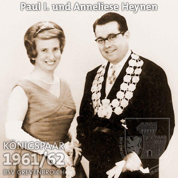Schützenkönigspaar 1961/62: Paul I. und Anneliese Heynen