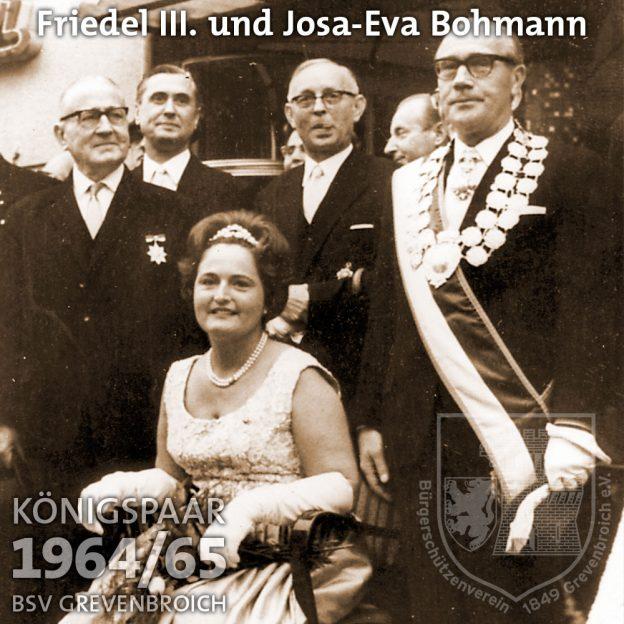 Schützenkönigspaar 1964/65: Friedel III. und Josa-Eva Bohmann