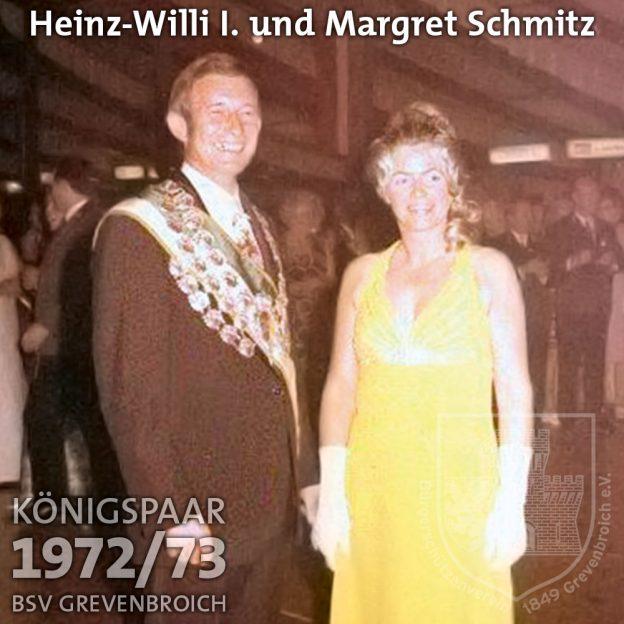 Schützenkönigspaar 1972/73: Heinz-Willi I. und Margret Schmitz