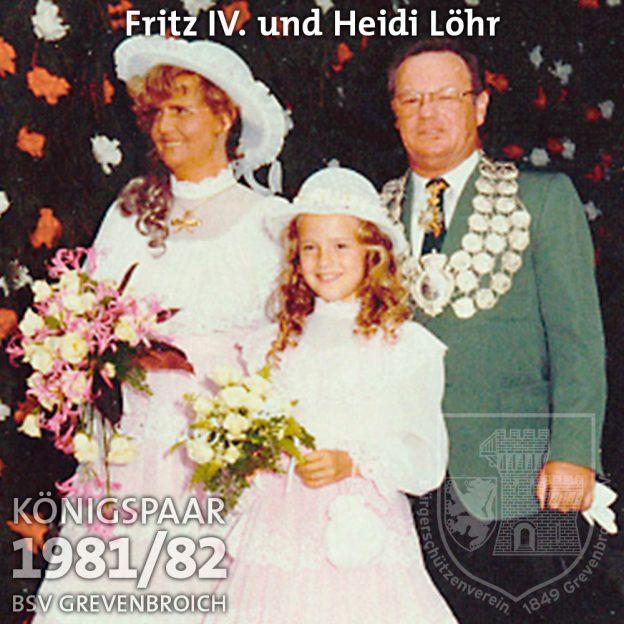 Schützenkönigspaar 1981/82: Fritz IV. und Heidi Löhr