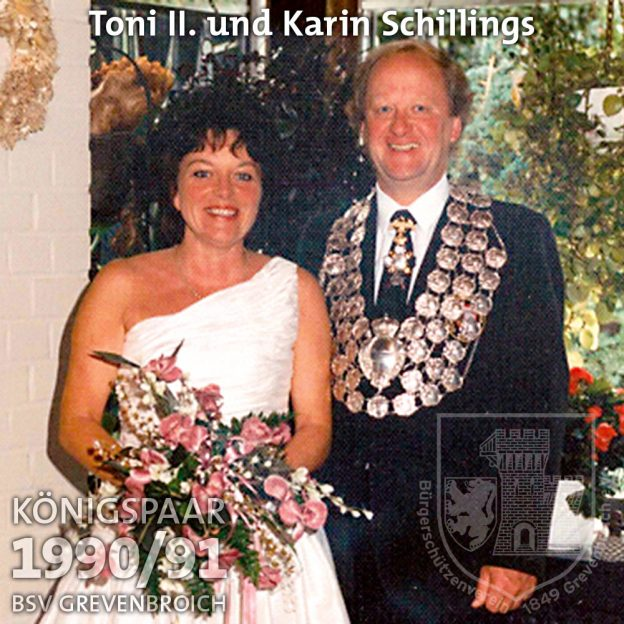 Schützenkönigspaar 1990/91: Toni II. und Karin Schillings