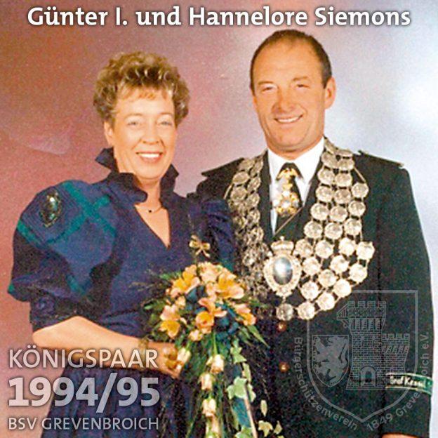 Schützenkönigspaar 1994/95: Günter I. und Hannelore Siemons