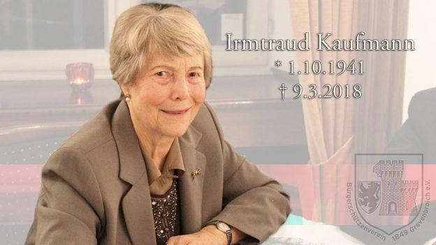 Der BSV Grevenbroich trauert um seine ehemalige Schützenkönigin Irmtraud Kaufmann.