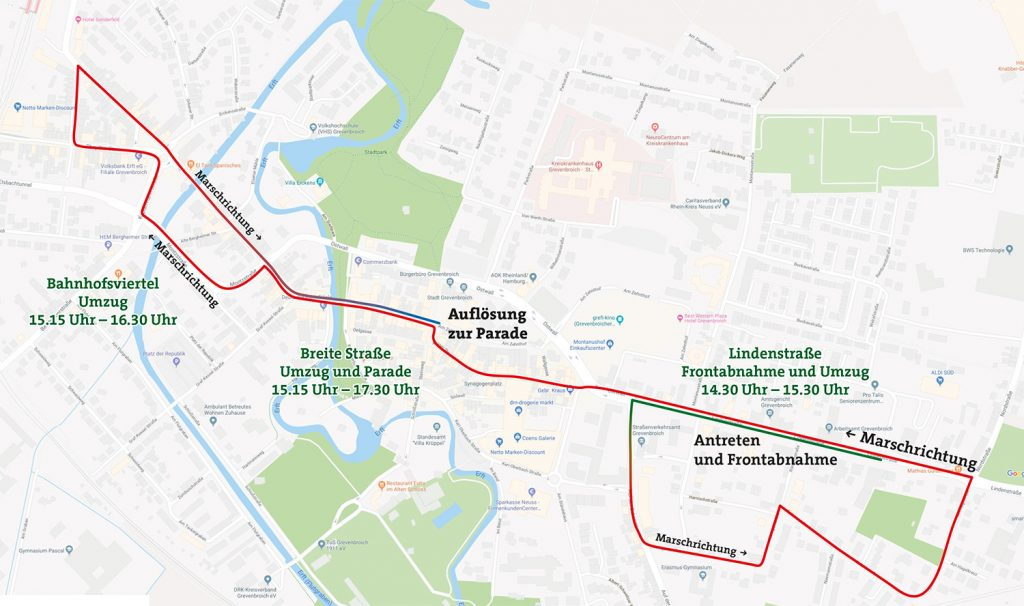Der Marschweg beim Festzug Kirmessonntag.