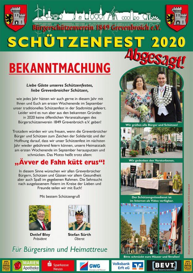 Das offizielle Plakat zum Schützenfest 2020