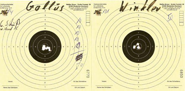 Die Scheiben der besten Schützen des Regiments: Thomas Gallus und Georg Winkler