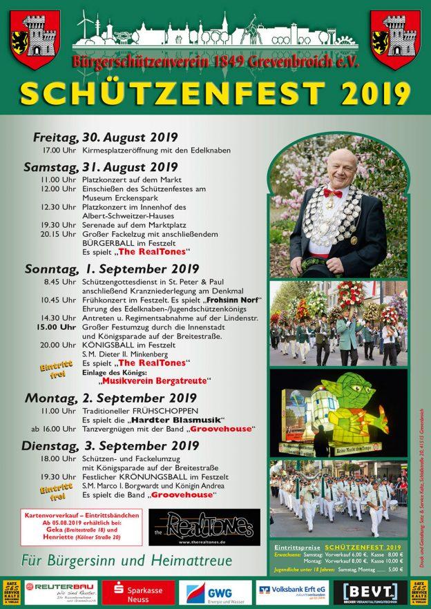 Das offizielle Plakat zum Schützenfest 2019.