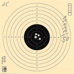 Die Zielscheibe von Christoph Hinz mit der maximalen Anzahl der möglichen Ringe.